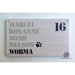 Naambord familie Wobma