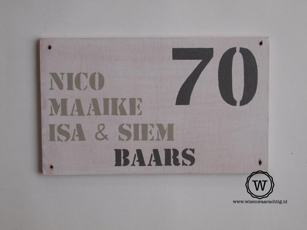 Naambord Voordeur Landelijk : Landelijk huisnummer