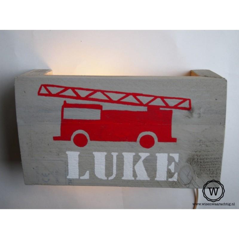 Wandlamp brandweerauto