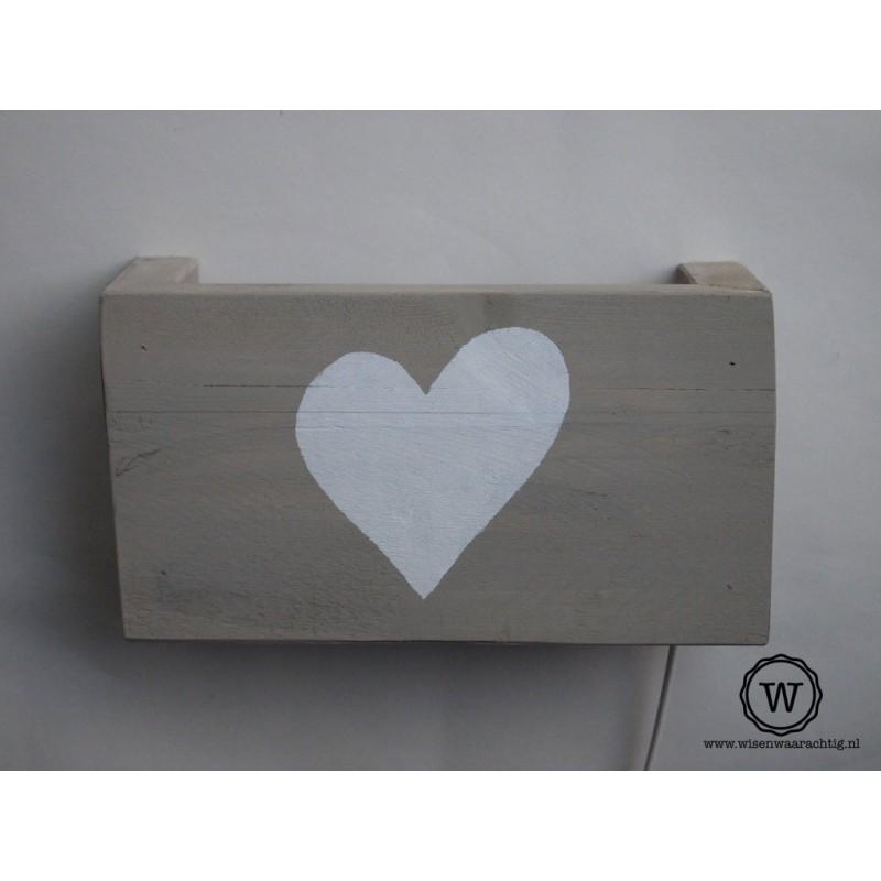 Wandlamp hart wit