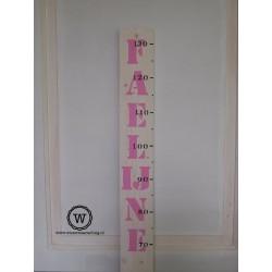 Groeimeter met naam wit/roze