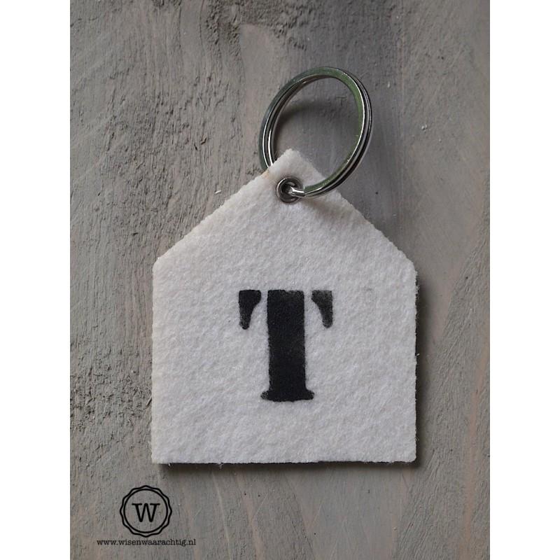 Vilten sleutelhanger letter