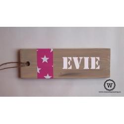 naambord stoer roze sterren