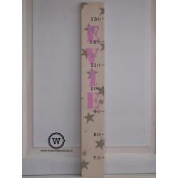 Groeimeter met naam en sterren wit/roze