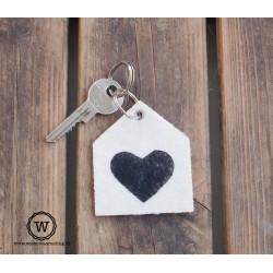 Vilten sleutelhanger hart groot
