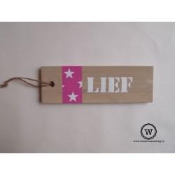 tekstbord stoer roze sterren