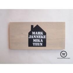 Naambord steigerhout huisje