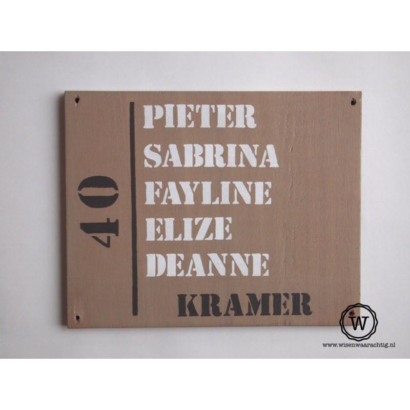 Naambord familie Kramer