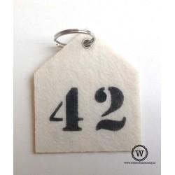 Vilten sleutelhanger huisnummer