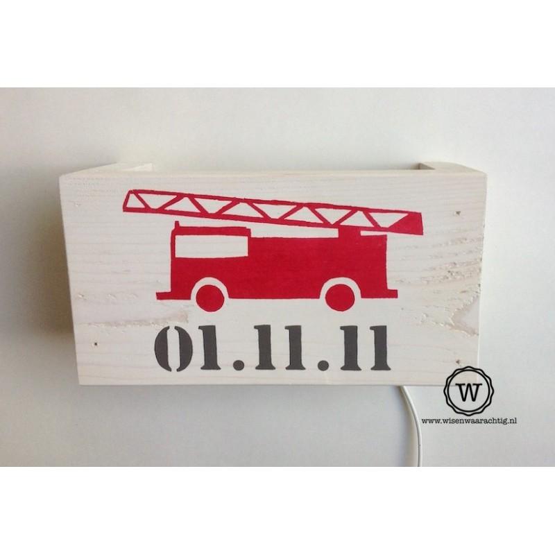 Wandlamp brandweerauto met datum