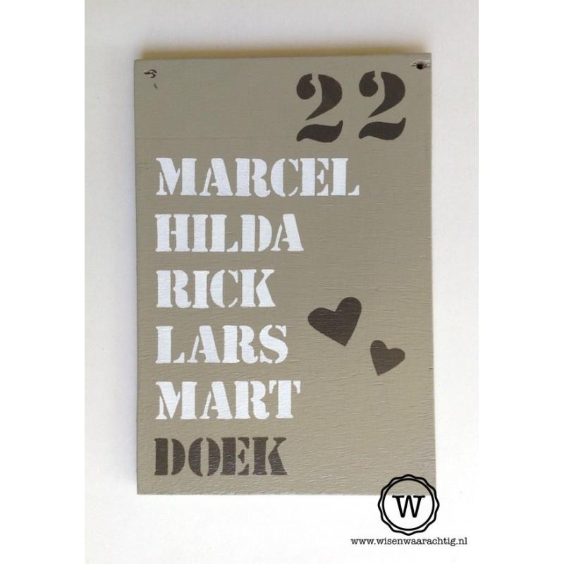 Naambord familie Doek