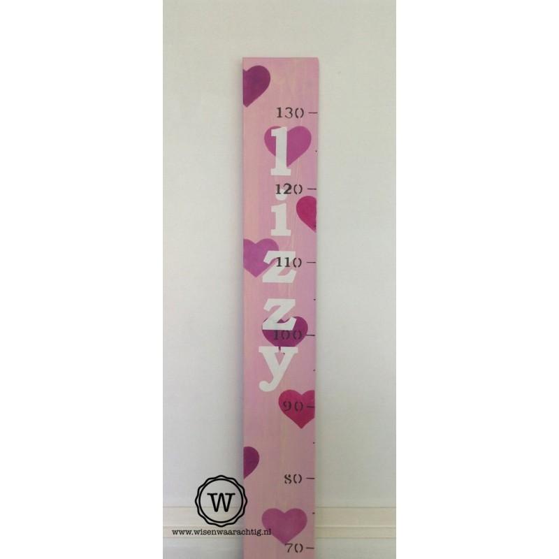 Groeimeter met hartjes roze