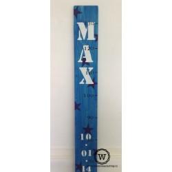 Groeimeter blauw met naam en datum