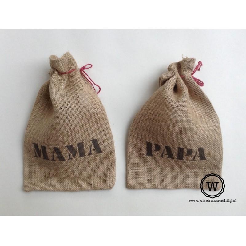 Jute zakje papa of  mama
