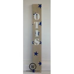 Naambord groot sterren blauw