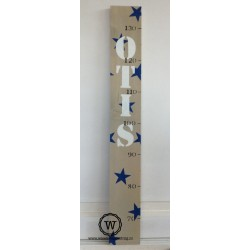 Groeimeter met naam en sterren blauw