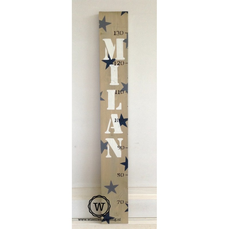Groeimeter met naam en sterren donkerblauw /grijs