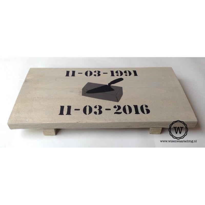 Dienblad steigerhout logo en data