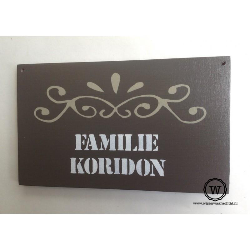 Naambord familie Koridon