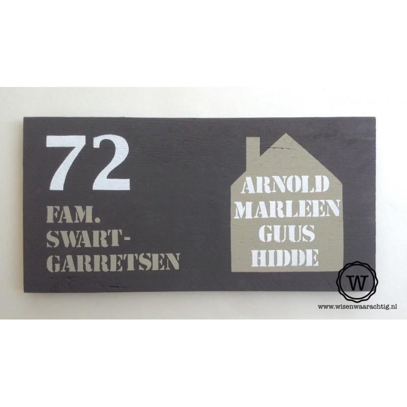 Naambord steigerhout huis antraciet