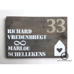 Naambord steigerhout hartenhuisje