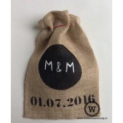 Jute zak met datum en logo (zwart)