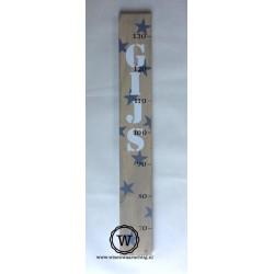 Groeimeter met naam en sterren grijs