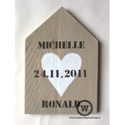 XL huis hart met namen en datum
