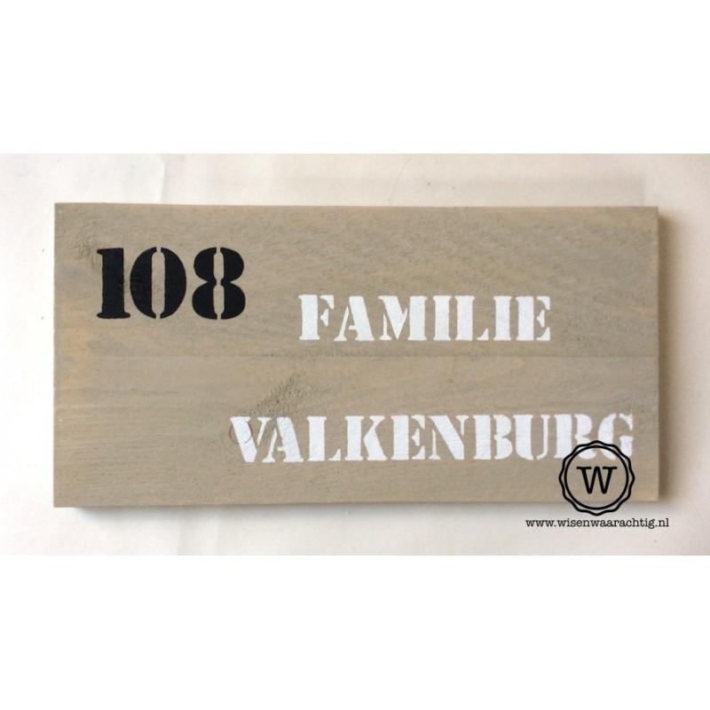 Naambord steigerhout groot