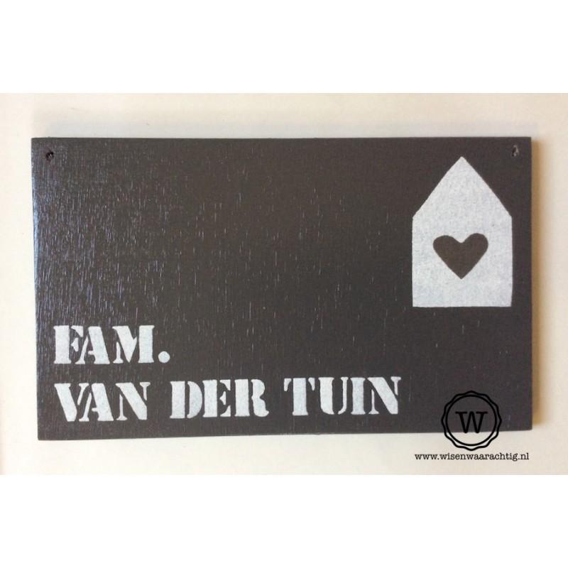 Naambord familie van der Tuin