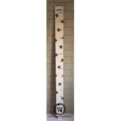 Groeimeter XL met sterren en naam donkerblauw