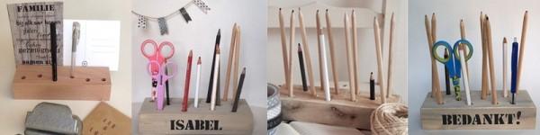Houten potlodenblok, pennenblok, organizer | stoer opbergen | gratis verzending