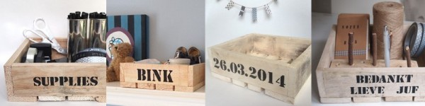 opbergen opbergbak sloophout met naam , datum of tekst |stoer opbergen