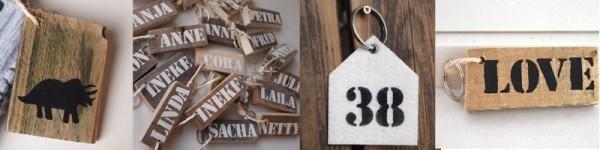 Sleutelhanger of tashanger met naam of afbeelding, van hout of vilt | bijzonder cadeau