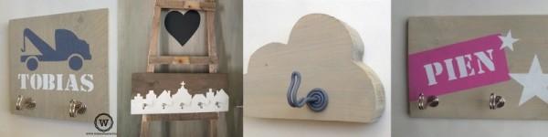 Kinderkapstok steigerhout met naam of tekst | Stoer voor de kinderkamer | Wis en Waarachtig