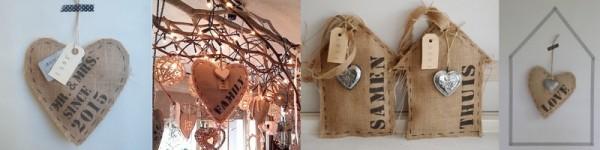 Hart, huisje of zakje jute bedrukt met naam of tekst | Bijzondere woonaccessoires | Wis en Waarachtig